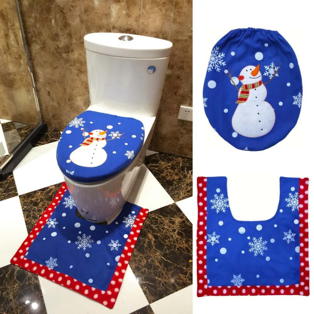 Santa Claus Toilet Seat Cover And Rug Bathroom Set Contour - Burgundy toilet seat cover