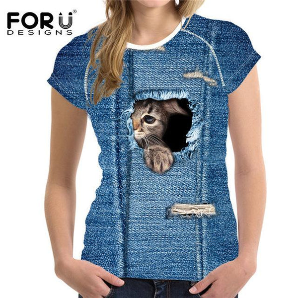 FORUDESIGNS Black Cat Printing Women T Shirt 3D Cat Dog T-Shirt Casual Female Round Neck Short Sleeve Fashion Tops Tee Shirts