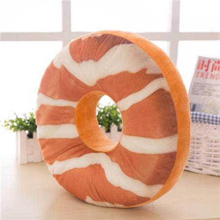 38CM 8 style Doughnut Shaped Ring Plush Soft Novelty Style Cushion Pillow Pizza pattern pillow drop shipping sale