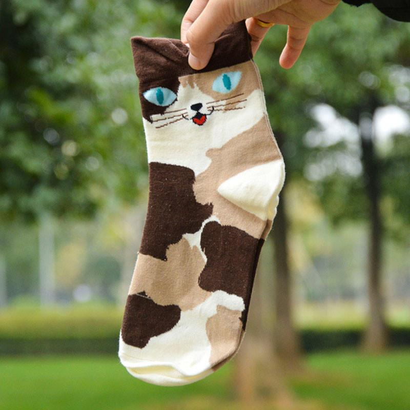1 Pair Women Lady Girl Lovely Hot Fashion 2016 Cartoon Cat Animal Stripped Cotton Socks 4 Colors