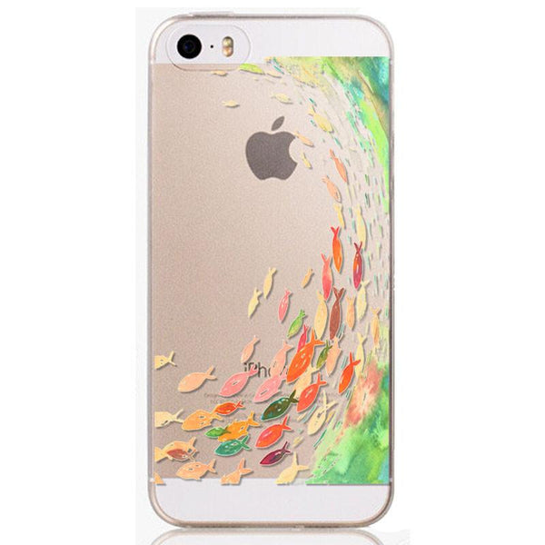 Phone Back Cases For iPhone 5 iPhone 5s SE Ultra Thin Soft Silicon Printed Animals Flower Beauty Girl Back Case Cover