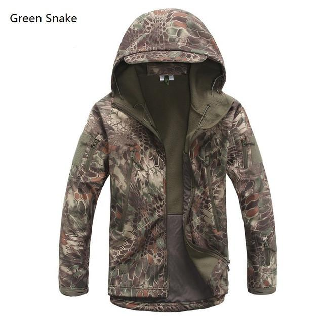 2017 Waterproof Windproof Warm Camouflage Coat  (Green Snake)