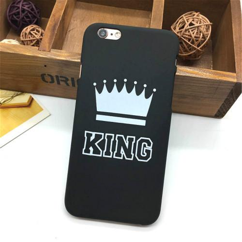 Fashion Brand King Queen Hard Plastic Ultra Thin Back Covers for Apple iPhone 6 6s 5 5s SE Luxury Crown Slim Phone Case Shell