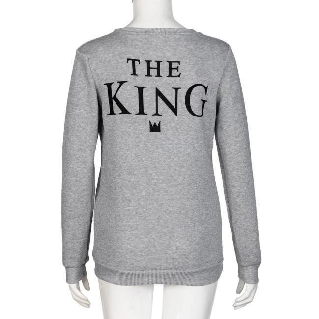 Cotton King Queen Letter Print Long Sleeve Couple Shirt