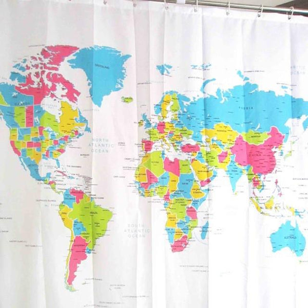 Shower Curtain World Map Pattern Creative Shower Curtain Bathroom Waterproof Polyester Fabric 180*180cm/72*72'' +12 Hooks