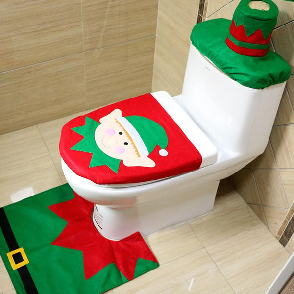 2016 Santa Claus Toilet Seat Cover and Rug Bathroom Set Contour Rug Christmas Decorations for Home Papai Noel Navidad Decoracion