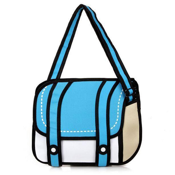 New Fashion 2D Bags Novelty Back To School Bag 3D Drawing Cartoon Paper Comic Handbag Women Shoulder Bag Messenger 5 Color Gift
