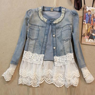 Slim Lace Patchwork Beading Jacket