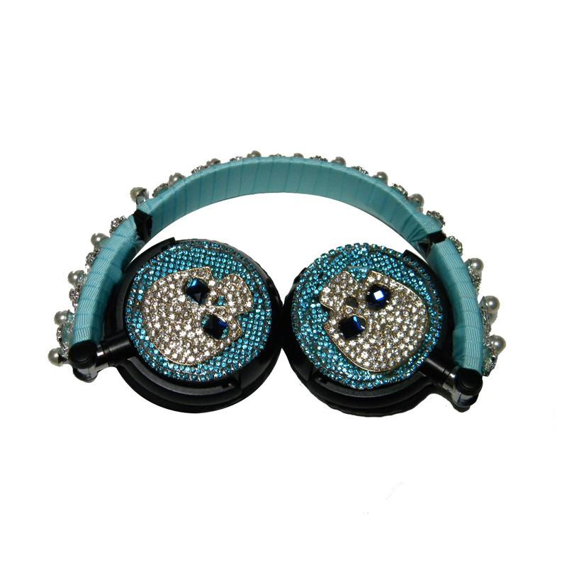 Hot Foldable Flashing Rhinestones Skull headphones For PC, Laptop, Computer, & Mobile Phone
