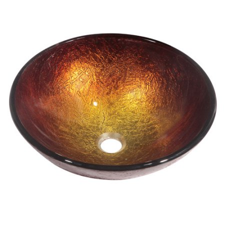 Dawn Tempered Glass Vessel Bowl, Hand Painted Gold and Brown, GVB86171
