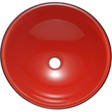 "Polaris 16 1/2"" Double Layer Glass Round Bathroom Vessel Sink - Red and Black P607"