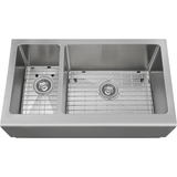 "Polaris 33"" Offset Double Bowl Stainless Steel Apron Sink PR709"