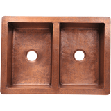 "Polaris 35"" Equal Double Bowl Copper Farmhouse Sink P224"
