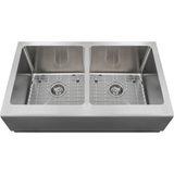 "Polaris 33"" Double Equal Bowl Stainless Steel Apron Sink P608"