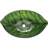 "Polaris 23"" Glass Leaf Shaped Bathroom Vessel Sink - Green P907"