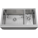 "Polaris 33"" Offset Double Bowl Stainless Steel Apron Sink PL709"