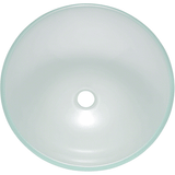 "Polaris 16 1/2"" Glass Round Bathroom Vessel Sink - Frosted P207"