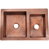 "Polaris 33"" Offset Double Bowl Copper Farmhouse Sink P123"