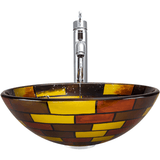 "Polaris 16 1/2"" Stained Glass Round Bathroom Vessel Sink - P128"