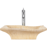 "Polaris 19 3/4"" Egyptian Yellow Marble Square Bathroom Vessel Sink P960"