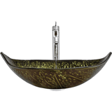 "Polaris 23 1/4"" Foil Undertone Leaf Shaped Glass Bathroom Vessel Sink P348"