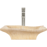 "Polaris 19 3/4"" Egyptian Yellow Marble Square Bathroom Vessel Sink P961"