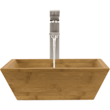 "Polaris 16 1/8"" Bamboo Square Bathroom Vessel Sink P201"