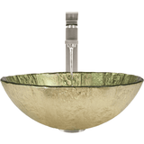 "Polaris 16 3/4"" Gold Foil Glass Round Bathroom Vessel Sink - Green and Gold P329"