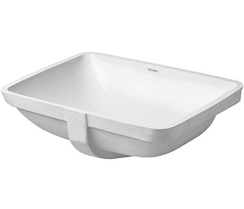 "Duravit 030549 Starck 3 Series Vanity basin, 19-1/4"" Undermount basin with Overflow Bathroom Vessel Sink, White, 030549"