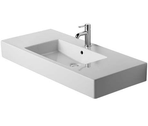 "Vero Furniture Washbasin 41-3/8"" with Overflow and 1 Tap Hole Faucet Deck, Wall-mounted Bathroom Sink, Duravit, 032910"