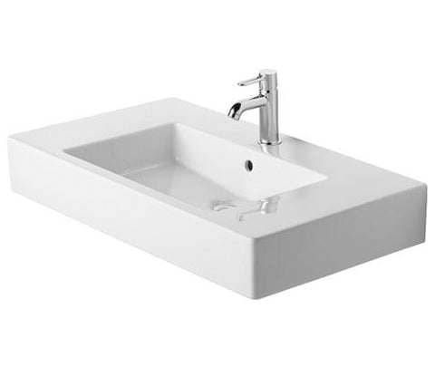 "Vero Furniture Washbasin 33-1/2"" with Overflow, with 1 Tap Punched Hole for faucet, Bathroom Wall Mounted Sink, Duravit, 032985"