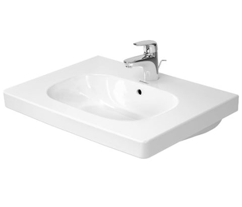 "D-Code Furniture Washbasin 25-5/8"" with Overflow and Faucet Deck, Wall-mounted Bathroom Sink, Duravit, 034265"