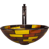 "Polaris 16 1/2"" Stained Glass Round Bathroom Vessel Sink - P130"