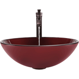 "Polaris 16 1/2"" Hand Painted Glass Round Bathroom Vessel Sink - Red P150"