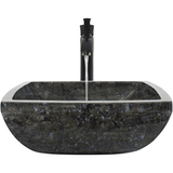 "Polaris 15 3/4"" Butterfly Blue Granite Square Bathroom Vessel Sink P762"