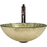 "Polaris 16 3/4"" Gold Foil Glass Round Bathroom Vessel Sink - Green and Gold P330"