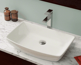 "Porcelain Vessel Sink, 23 1/2"", Rectangular, Polaris, P053"