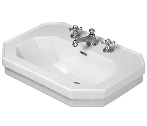 "1930 Series Washbasin 23-5/8"" with Overflow and 3 Tap Punched for faucet, Wall-mounted Bathroom Vessel Sink, Duravit, 043860 - Showroom Sinks"