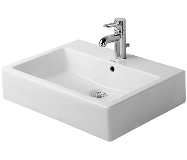 "Vero Above-Counter Basin 23-3/8"" with Overflow and 1 Tap Faucet Hole, Back Side Glazed, Ground, Duravit, White Ceramic with WonderGliss Coat, 045260"