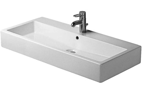 "Vero Furniture washbasin 39-3/8"" with Overflow and Faucet Deck, Wall-mounted Bathroom Vessel Sink, Duravit, 045410"