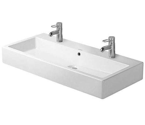 "Vero Series Washbasin Ground 39-3/8"" with Overflow, with 2 Tap Punched Hole for faucet, Wall Mounted Bathroom Sink, Duravit, 045410"