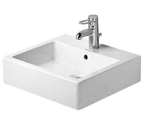 "Vero Washbasin Ground 19-5/8"" with Overflow, with 3 Tap Punched Hole, Bathroom Wall Mounted Sink, Duravit, 045450"