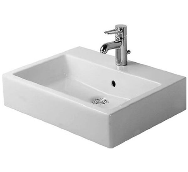 "Vero Washbasin ground 19-5/8"" with Overflow and Faucet Deck, Wall mounted Bathroom Vessel Sink, Duravit, 045450"