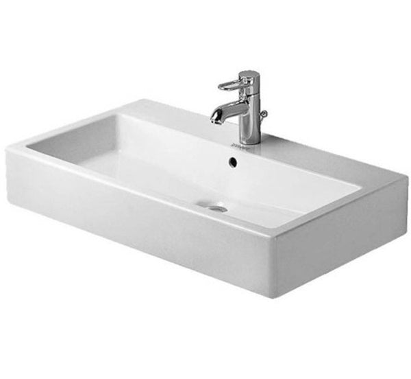 "Vero Furniture Washbasin 31-1/2"" with Overflow and 1 tap punched for faucet, Wall-mounted Bathroom Sinks, WonderGliss Finish, Duravit, 045480"