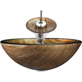 "Polaris 16 1/2"" Bronze Foil-Undertone Glass Round Bathroom Vessel Sink P241"