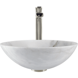 "Polaris 16 1/2"" White Granite Round Bathroom Vessel Sink P058W"