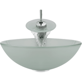 "Polaris 16 1/2"" Glass Round Bathroom Vessel Sink - Frosted P211"