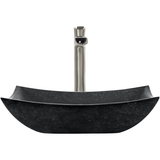 "Polaris 18 1/2"" Honed Basalt Black Granite Rectangular Bathroom Vessel Sink P073"