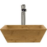 "Polaris 16 1/8"" Bamboo Square Bathroom Vessel Sink P203"
