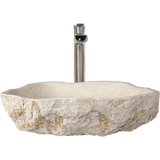 "Polaris 19 1/2"" Galaga Beige Marble Rectangular Bathroom Vessel Sink P078"